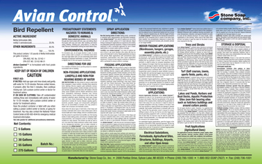Avian control lable