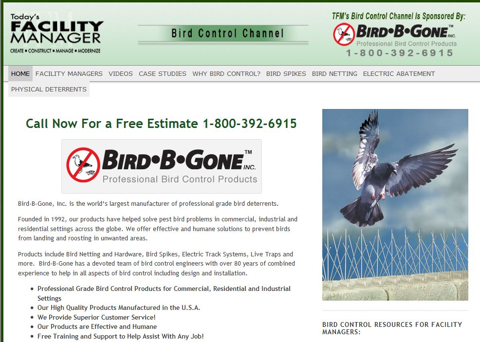 Bird-B-Gone Launches Bird Control Channel for Facility Managers